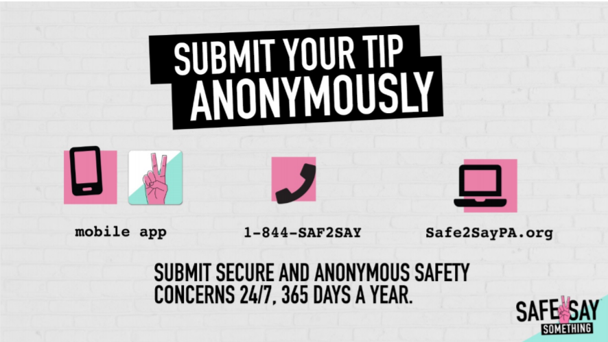 Submit secure and anonymous safety concerns 24/7, 365 days a year with the mobile app, 1-844-SAF2SAY, or at Safe2SayPA.org